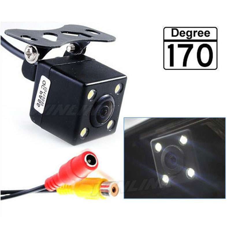 170 Degree Universal Waterproof HD CCD 4 LED Night Vision Car Rear View Camera Parking Assistance(China (Mainland))