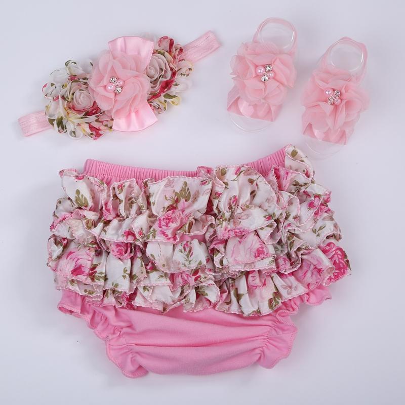flower toddler ruffled panties baby girls headband;cotton baby bloomer and headband set;baby short Panties for bebe girl,#3T0204(China (Mainland))
