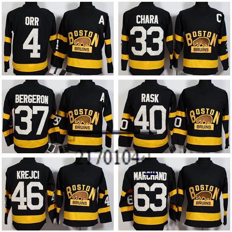 New Winter Classic Boston Bruins Jerseys Hockey 33 Zdeno Chara 37 Patrice Bergeron 40 Rask 46 Krejci 63 Marchand 4 Bobby Orr(China (Mainland))