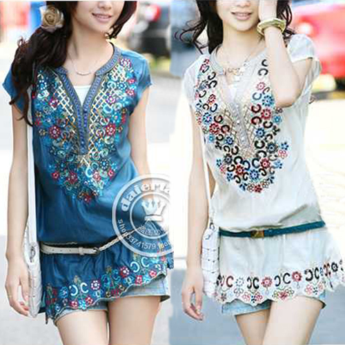 New Fashion casual Sequin women summer dress 2015 shirt dresses folk style embroidery female blouses dresses Free Ship(China (Mainland))