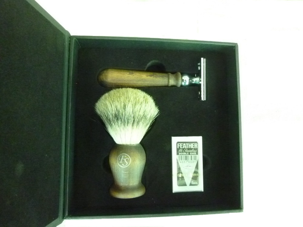 Frank Shaving Real Wood shaving set--Pure badger brush & DE safety razor& Feather blades+Gift Box