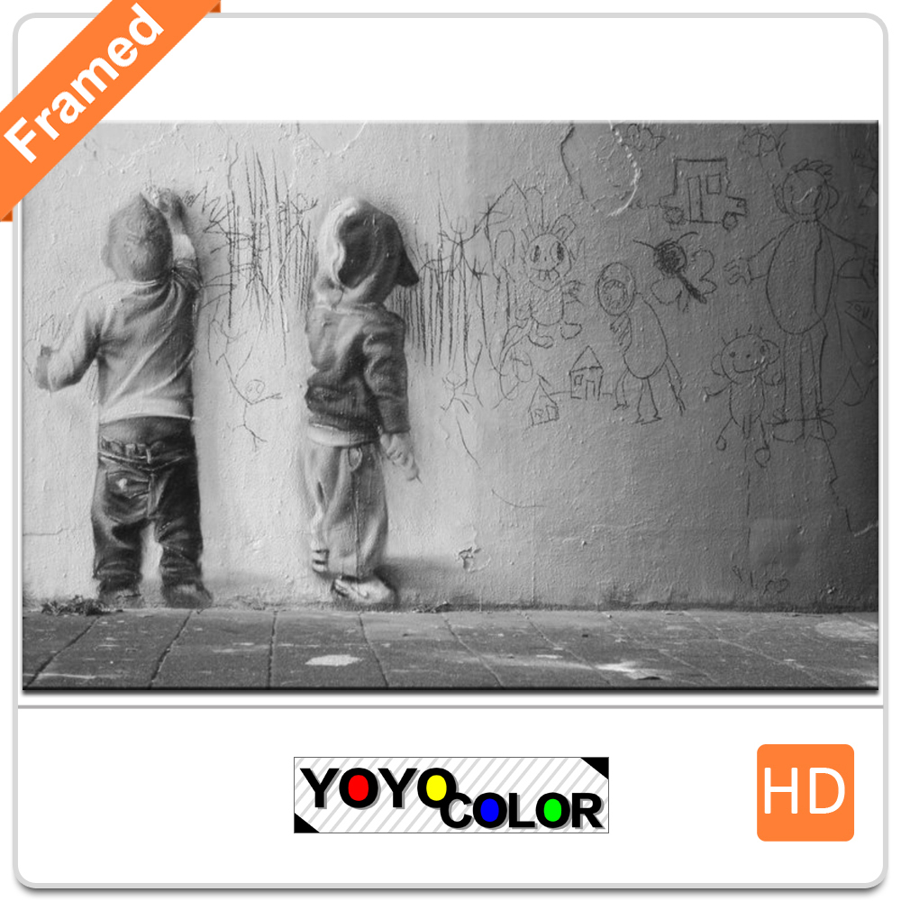 Banksy kids, Framed Canvas Print Painting Artwork, Wall Art Picture/Photo Gift for Living Room, WHOLESALE B746