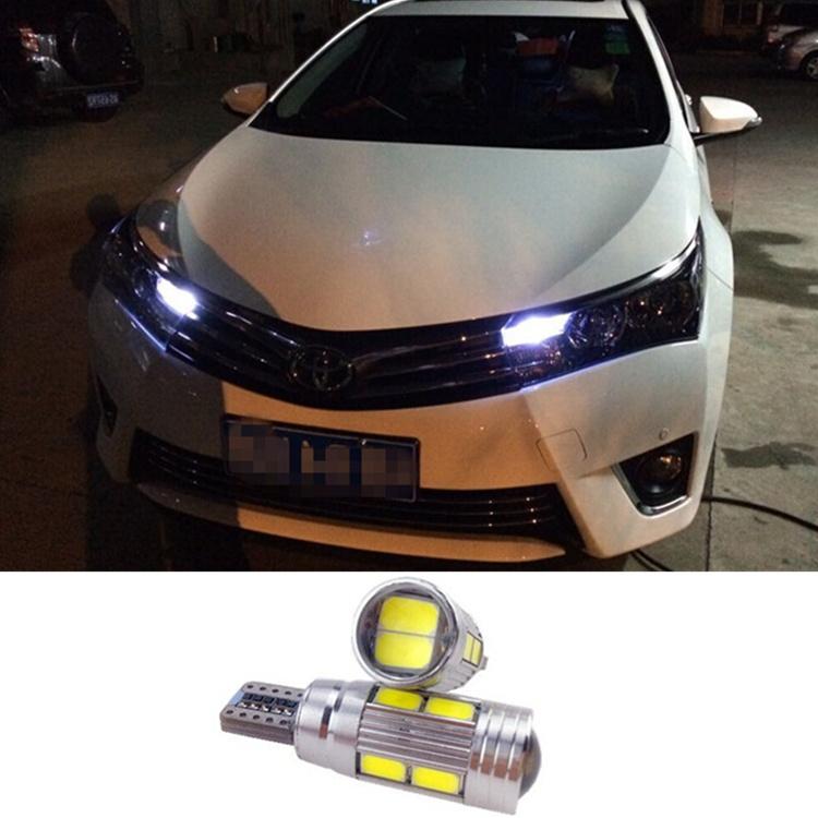 2x White Crystal Blue Car T10 LED 10-smd Wedge Light Bulb W5W 194 168 For toyota corolla 2014 avensis rav4 auris<br><br>Aliexpress