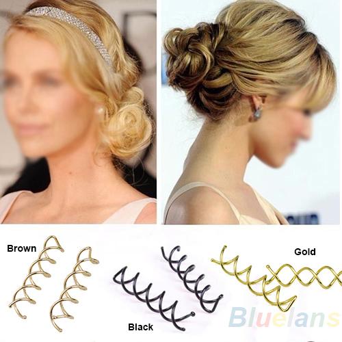 10 pcs 1set Spiral Spin Screw Pin Hair Clip Twist Barrette / Gold Brown Black hot(China (Mainland))