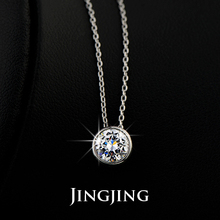 Simply Small Round 1 carat Cubic Zirconia Solitaire Pendant Necklace CZ Diamond Bezel Set Wedding Necklace