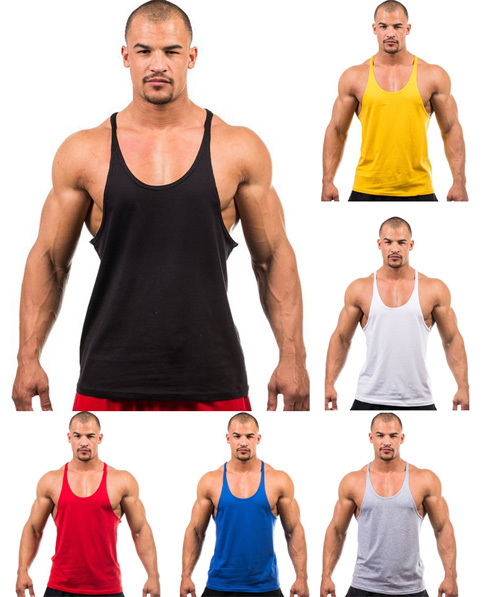 2016 Summer Stly Men Blank Stringer Y Back Cotton Tank Top Bodybuilding Clothings Fitness Shirt Vests Muscle Tops - Lucky No. 25 store