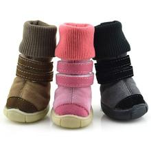 Mascotas Cachorro de Perro de Algodón Zapatos de Cuero de Goma Suelas antideslizantes Nieve Botas Zapatos(China (Mainland))