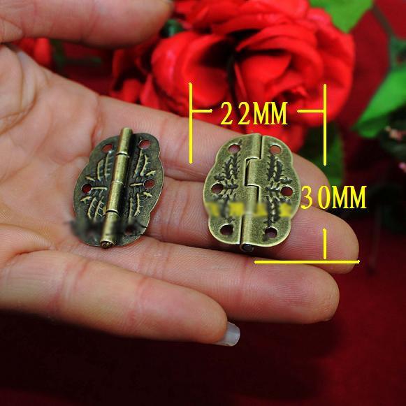 100pcs/lot vintage brass emboss jewelry box hinge 30x22mm with screws(China (Mainland))