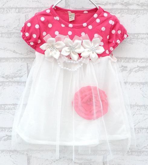 Retail 2015 Short-sleeve Rose Flower Polka Dot One-piece Dress Tutu for 6M