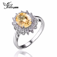 JewelryPalace Кейт Принцесса Диана 1.8ct Натуральный Цитрин Обручальное Halo Кольцо 925 Серебряное Кольцо для Женщин Fine Jewelry(China (Mainland))
