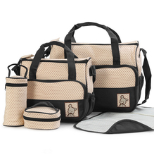 FreeshippingMother infanticipate mummy Babies bags nappy bag multifunctionaldouble shoulder cross body 5 piece set messenger bag