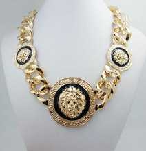 New Coming Fashion 3 Metal Lion Head Chunky Chain Golden Necklace High Quality Statement Jewelry(China (Mainland))