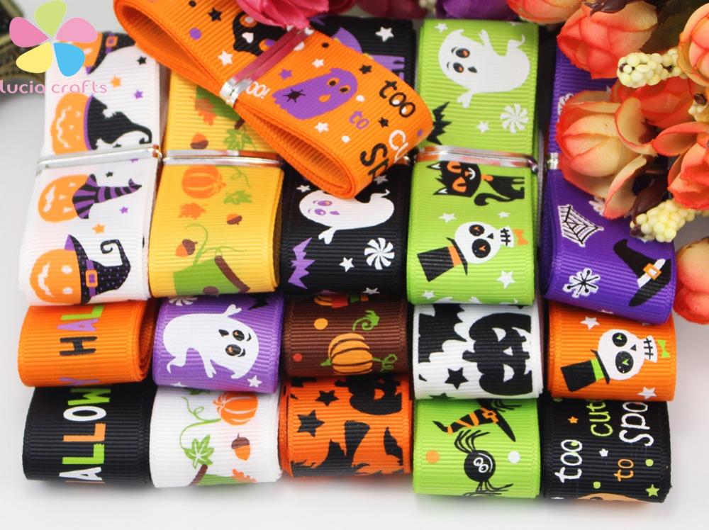 25mm Halloween Pattern Grosgrain Ribbon 12yards/lot(Randomly mixed) 040054044(China (Mainland))
