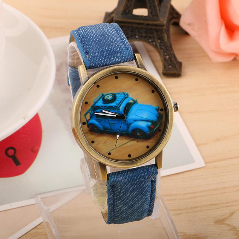 Mance On Top Sale Casual Concise Fashion Watches Boy Girl Kids Children Sport Retro Car Pattern Denim Twill Strap Watch Relogio(China (Mainland))