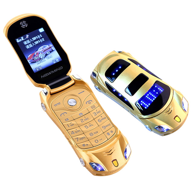 NEWMIND F15 Flip Phone With Camera Dual SIM LED Light 1.8 inch Screen Luxury Car Cell Phone(Can Add Russian keyboard)(China (Mainland))