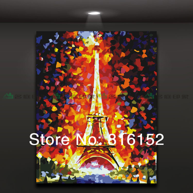 Abstract mural oil painting The Eiffel Tower home decor,picture only No frame(China (Mainland))