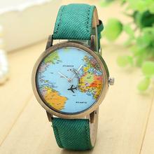 Esplêndido Novo Mapa Mulheres Relógio Vestido Relógios Famosos Global de Viagens De Avião Tecido Denim Banda Pulseira de Relógio Feminino Horas Relogio