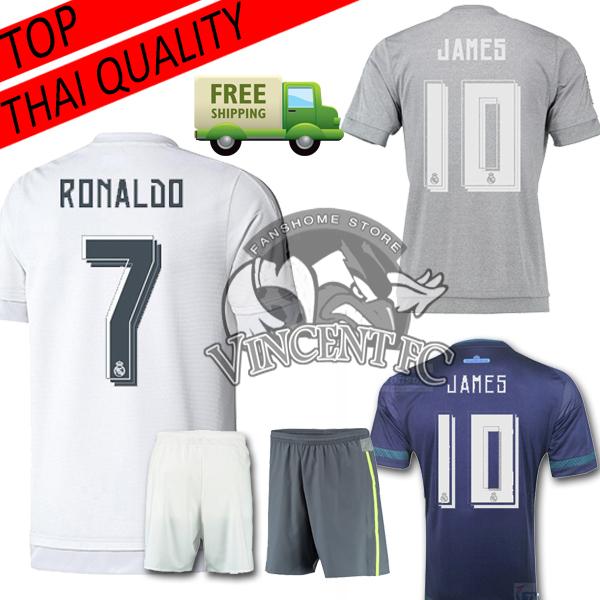 Real Madrid 2016 Jersey Soccer 15 16 REAL MADRID Camisetas Futbol JAMES BALE BENZEMA KROOS Football Shirt blue gray Thai(China (Mainland))