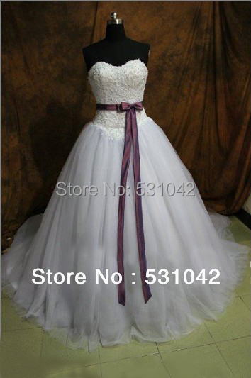 2013 New White Ivory Sweetheart Strapless Lace Tulle Ball Gown Wedding Dress Bridal Prom Dresses Purple Belt TY214