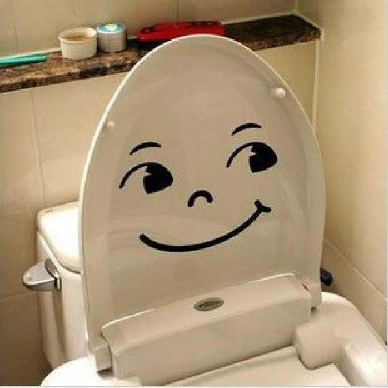 Bathroom decorative items Smiley Face Toilet Decal Wall Mural Decor Bathroom Sticker Pegatinas WC Watch video below(China (Mainland))