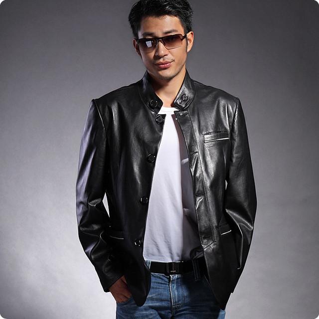 Hot selling motorcycle jacket leather fashionable genuine men's jacket italian zipper winter jacket for men size xxxxl HN025