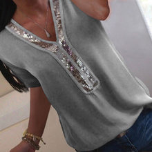 נשים סקסי V-צוואר פאייטים שיפון חולצה חולצה אביב קיץ אלגנטי משרד ליידי חולצות חולצות בתוספת גודל S-5XL blusa feminina(China)