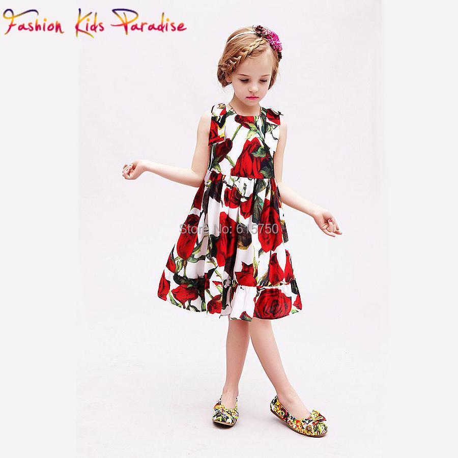 Milan Creations Princess Dress 2015 New Brand Designer Girls Summer Dresses With Digital Floral Printed Girls Clothes Kids Dress(China (Mainland))