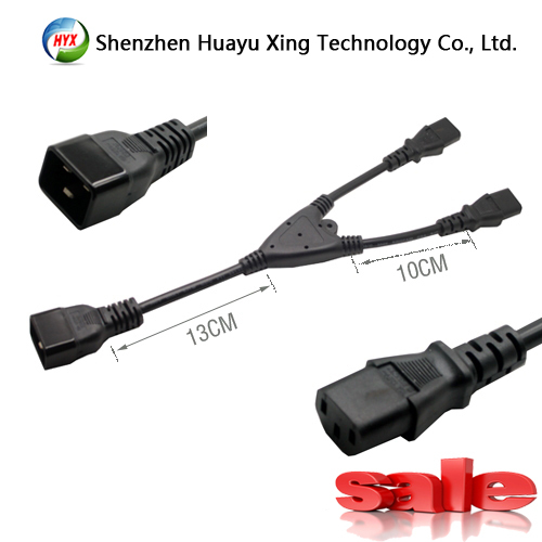 WK-0052 power extension cable,IEC 320 C20 Male to 2X IEC 320 C13 famale splitter Y adapter cord,Cord length is 1feet(China (Mainland))