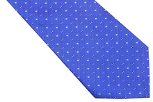 NT0529 New Blue White Checks Classic Silk Polyester Tie For Men Jacquard Woven Necktie Business Casual