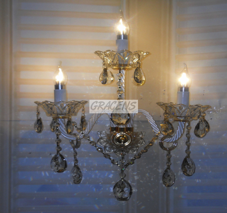 2014 Free Shipping 3 Arm Italian Gold Crystal Wall Lamp Modern Sconce with 100% K9 Crystal Drops (A WLZGXB01-3) W430*H550mm<br><br>Aliexpress