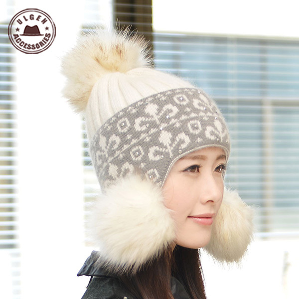 Cotton acrylic beautiful women winter beanies cap hats ear protector female young girl cute knitted Pom Hat [GEN-755] - ULGEN ACCESSORIES store