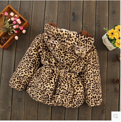 kids winter coats jackets girls fur coat cardigan baby clothing tops children sweatershirts outwear leopard plus size 2015 new - Lucky Dog's House store