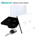 SESOO 2 Gang 1Way Wall Light Switch Remote Control Crystal Glass Switch Panel Wall Touch Switch