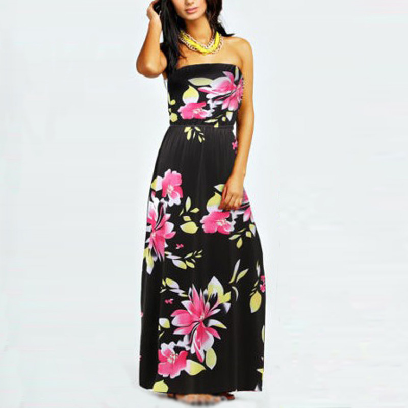 New Stylish Summer Women Sexy Strapless Long Maxi Dresses Floral