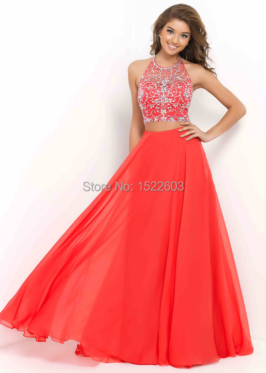 2015 new halter high neck beaded two prom