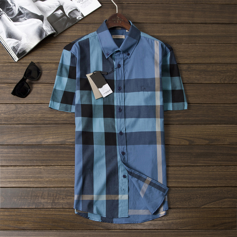 New Arrival Men's Fashion British Brand Summer Turn-down Short Sleeve Big Plaid Casual Shirts/Designer Big Check Tops/Blouse(China (Mainland))