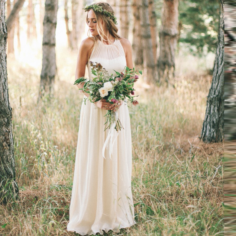 Modern Country Chic Wedding Dress : Simple wedding dresses country style halter bohemia dress