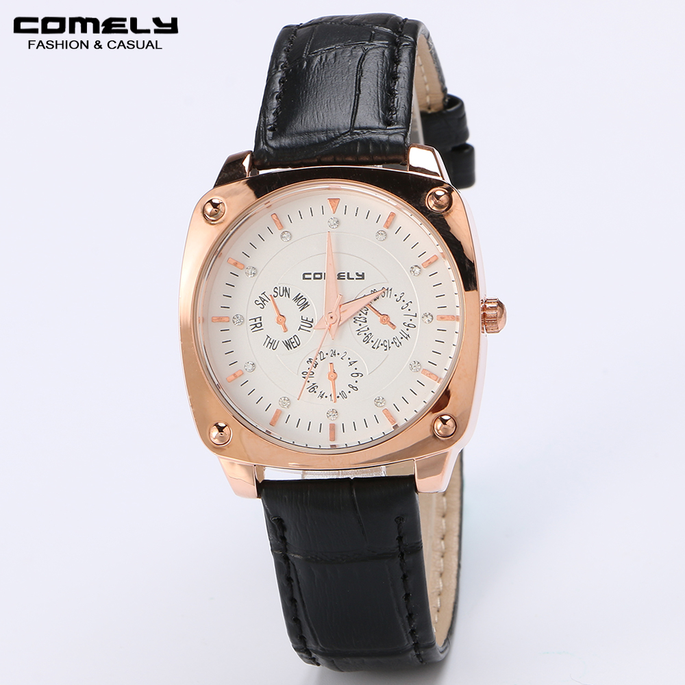 COMELY Woman's fashion casual Genuine leather strap quartz watch formal business watches brand multicolor diamond gold new watch(China (Mainland))