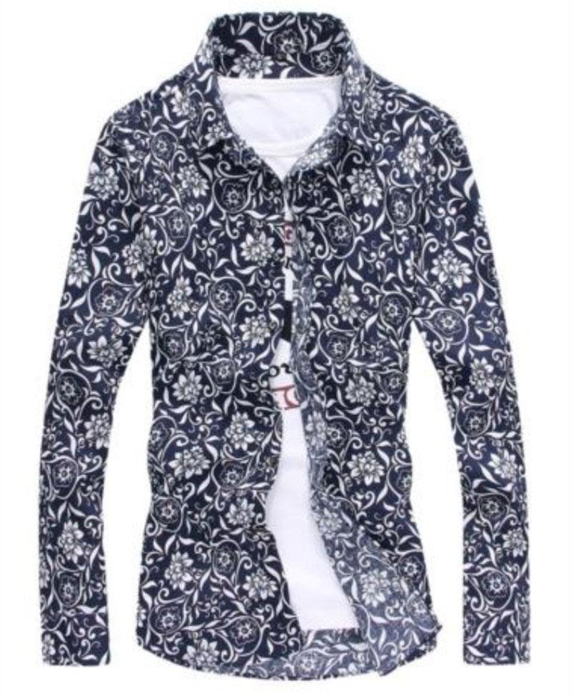 New 2016 Spring men's clothing Plus size 4XL luxury brand Dobby shirt men long-sleeve slim shirt casual floral men shirts 3color(China (Mainland))