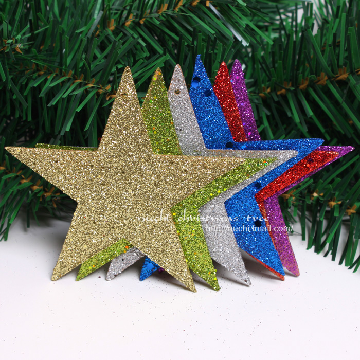 NEW! <12PCS/LOT> Gitter Christmas Stars Merry christmas home decorations tree ornament  craft supplies