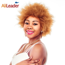 Buy AliLeader Products Kinky Straight Synthetic Hair Afro Wig Blonde Short Hair Wigs Black Women, #1B #2 #4 #27 #30 Available for $19.63 in AliExpress store