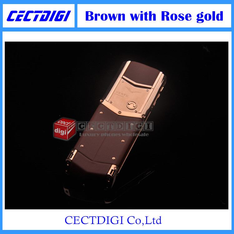 New luxury phone UPDATED signature CEO 168 Stainless-Steel body and genuine leather phone Brown with Rose gold(China (Mainland))