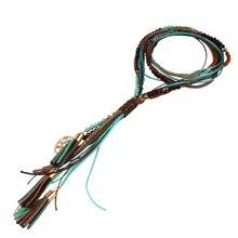 Fashion National Long Necklace  Handmade Leather rope Measly  Maxi Necklace Fine Jewelry N31511(China (Mainland))