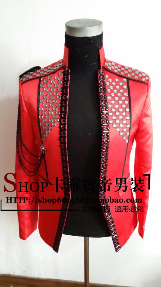 2016 men red black jacket blazer outwear coat for singer dancer performance nightclub bar groom men bar fashion men custumes(China (Mainland))