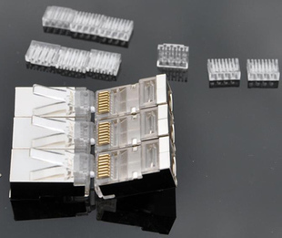 50 pcs Cat.6 RJ45 Modular Plugs shielded ver. Included wires insert loading bar cat6 plug(China (Mainland))