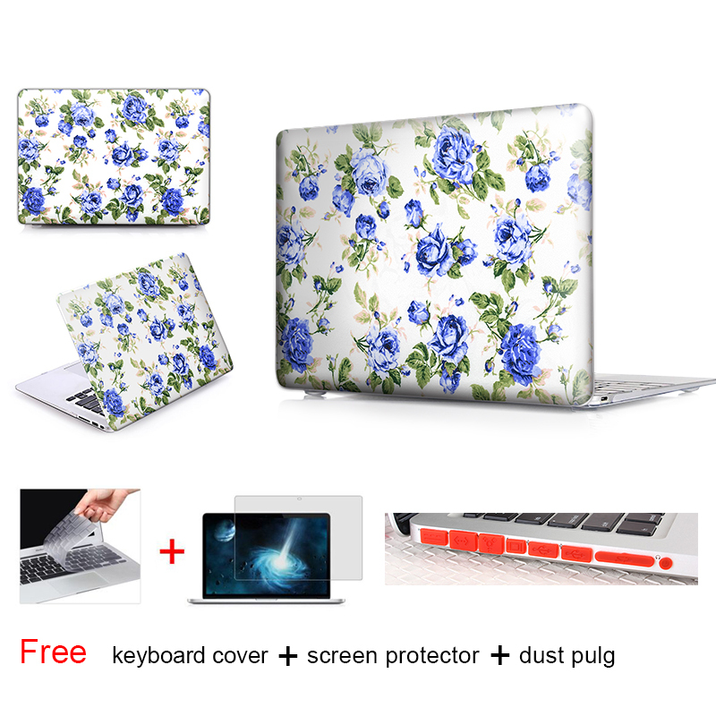 Retro Blue Rose Laptop Accessories Hard Cases Cover For Macbook Pro 13 Case Pro 13 15 Retina Hp Laptop Protector Shell Skin(China (Mainland))