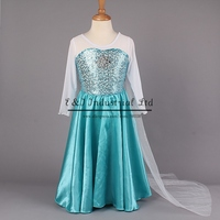 Wholesale 2015 Elsa Girl Dresses Princess Anna Elsa Costume New Movice Cosply Clothes  For Kids 3-7Y