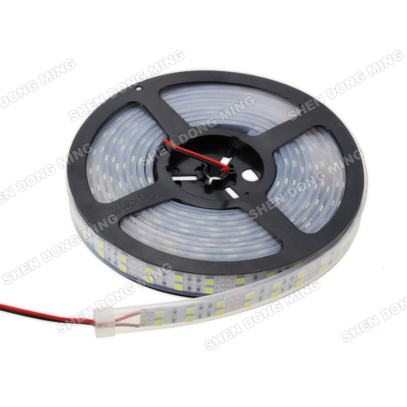 Double Row LED Strip Light 5050 SMD Tube led strip Waterproof DC12V 120leds/m White/Warm White IP67 24W/M(China (Mainland))