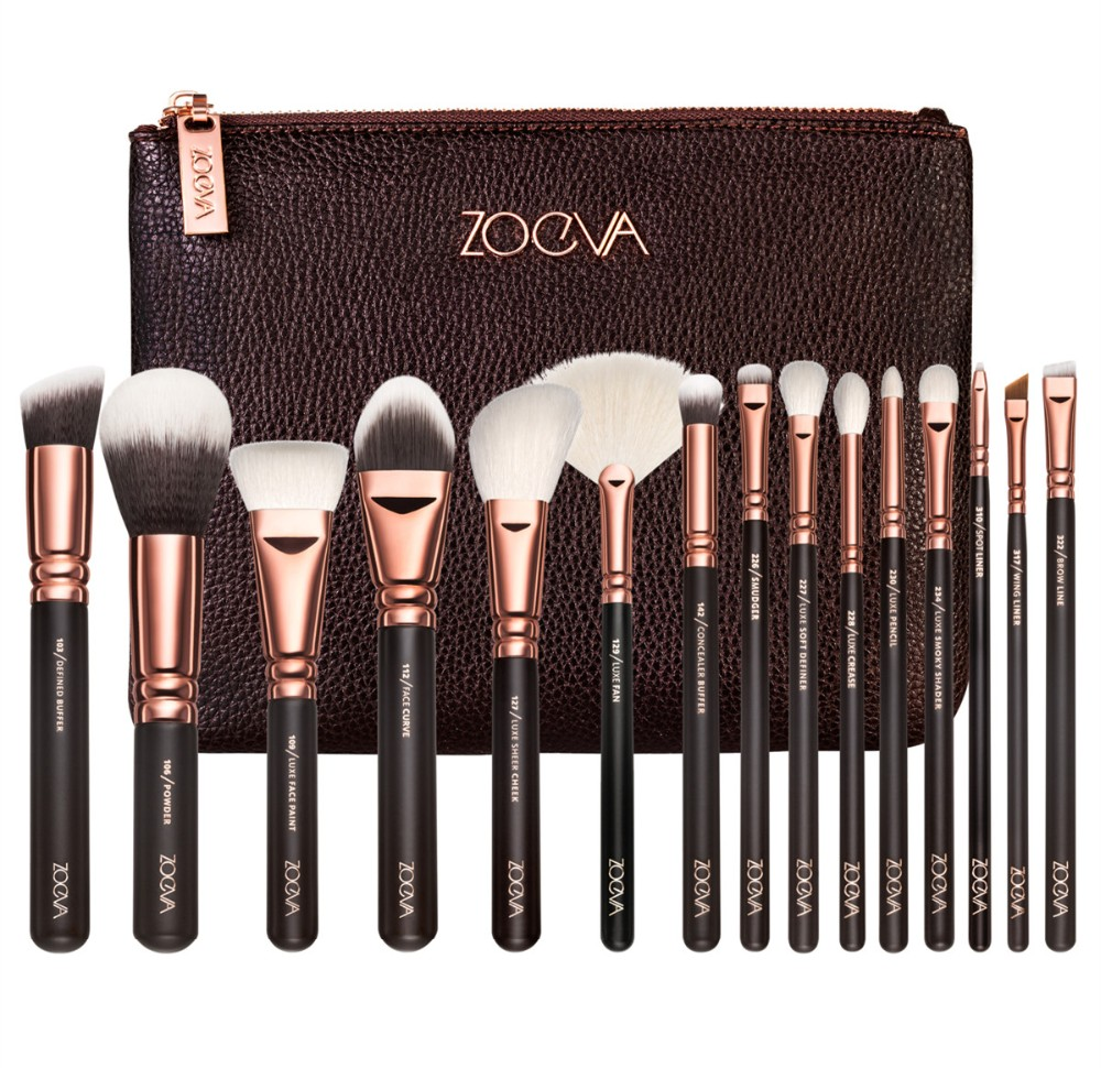 NEW ZOEVA 15 PCS ROSE GOLDEN COMPLETE MAKEUP BRUSH SET Professional Luxury Set Make Up Tools Kit Powder Blending brushes(China (Mainland))