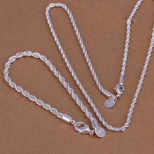 Free Shipping Wholesale silver plated jewelry set, fashion jewlery set Twisted Line Two-Piece Jewelry Set S051(China (Mainland))